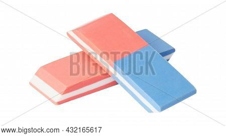 Eraser Isolated On White. Rubber Bi-color Eraser For Pencil And Ink