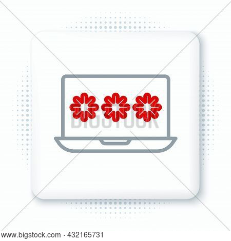 Line Laptop With Password Notification Icon Isolated On White Background. Security, Personal Access,