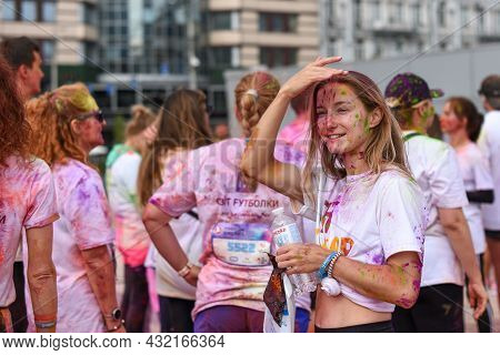Kyiv, Ukraine - 29.08.2021: Series Of Photos From The Color Run. Runners Are Sprinkled With Colored