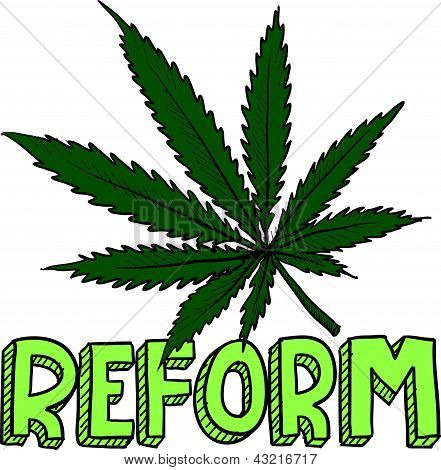 Doodle style marijuana law reform sketch in vector format.  Includes text and pot leaf. poster