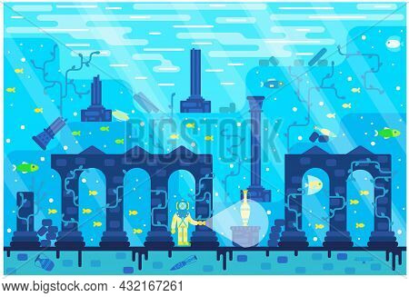 Deep Sea Diver Seek Treasure In A Ruined Old City At The Seabed - Vector Cartoon Illustration In Fla
