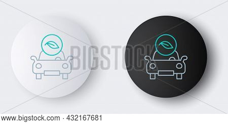 Line Eco Car Concept Drive With Leaf Icon Isolated On Grey Background. Green Energy Car Symbol. Colo