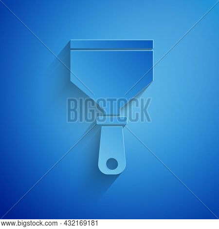 Paper Cut Putty Knife Icon Isolated On Blue Background. Spatula Repair Tool. Spackling Or Paint Inst