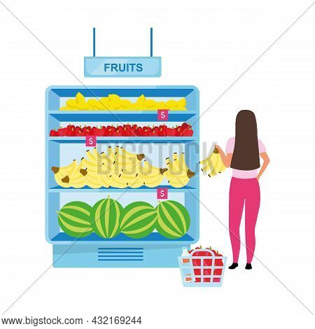 Woman Buying Fruits At Grocery Store Semi Flat Color Vector Character. Full Body Person On White. Gi