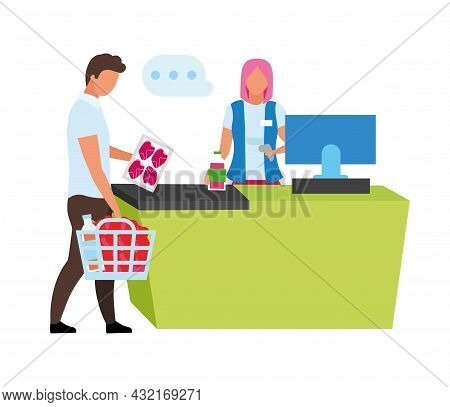 Cashier Scanning Customer Products Semi Flat Color Vector Characters. Full Body People On White. Gro