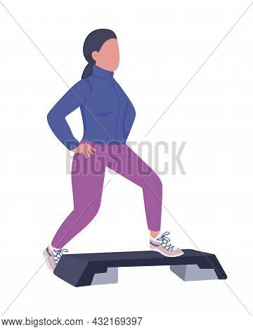 Woman Doing Warm-up Exercise Semi Flat Color Vector Character. Posing Figure. Full Body Person On Wh