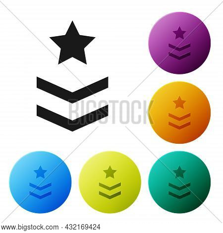 Black Military Rank Icon Isolated On White Background. Military Badge Sign. Set Icons In Color Circl