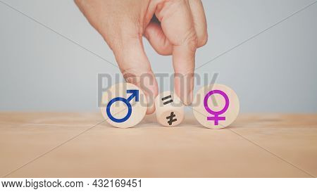 Hand Turning Sign ,not Equal  To Equal Between Male And Female Gender Icon, Equality Concept
