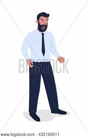 Angry Bearded Man In Suit Semi Flat Color Vector Character. Standing Figure. Full Body Person On Whi