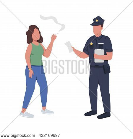 Policeman Giving Fine For Smoking Semi Flat Color Vector Characters. Full Body People On White. Ban