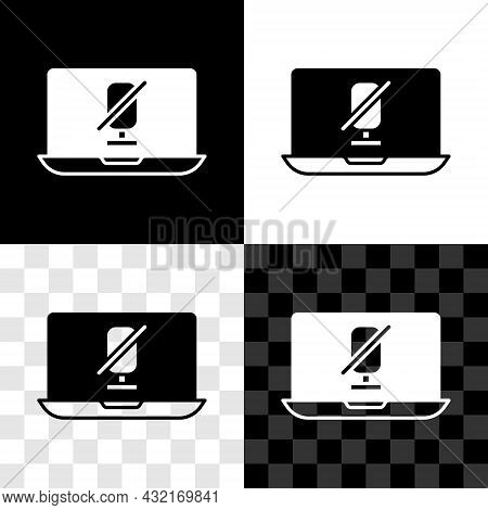 Set Mute Microphone On Laptop Icon Isolated On Black And White, Transparent Background. Microphone A