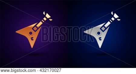 Gold And Silver Electric Bass Guitar Icon Isolated On Black Background. Vector