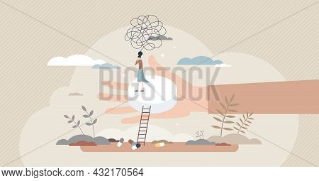 Anxiety Medications And Prescription Pills For Depression Tiny Person Concept. Psychological Problem