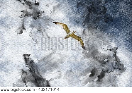 A Seagull Flies Against A Black Thunderstorm Sky. A Lone Bird Rushing To Duck From The Onset Of A Se