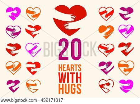 Hearts With Hugs Vector Logos Or Icons Set, Hands Holding Heart Care And Relationship Concept, Suppo