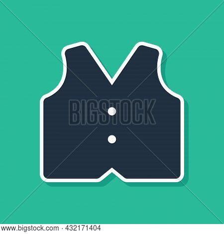 Blue Waistcoat Icon Isolated On Green Background. Classic Vest. Formal Wear For Men. Vector