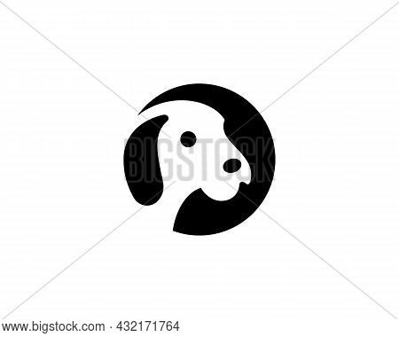 Abstract Puppy Face Negative Space Logo Design. Negative Space Minimalistic Flat Shelter, Pet Care,