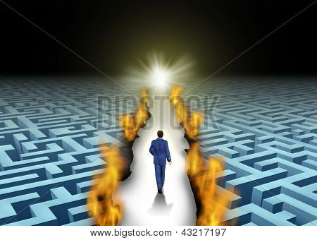 Innovative leadership and trail blazing or trailblazing business concept with a businessman walking through a maze or labyrinth that is open due to a burning path as a symbol of creative solutions. poster