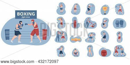 Boxing Compositions Flat Set Of Male And Female Sportsmen Characters Trainers Gloves Punching Bag Is