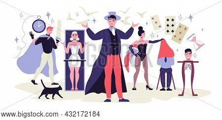 Flat Composition With Magic Show Actors Magicians Assistants Wearing Stage Costumes And Equipment Fo