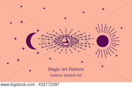 Esoteric Symbol Of Opening Of Third Eye Of Soul, Moon, Sun And Stars. Illustration Of Magic Session,