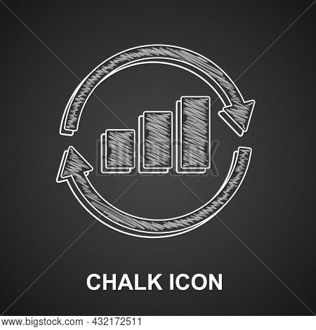 Chalk Graph, Schedule, Chart, Diagram, Infographic, Pie Graph Icon Isolated On Black Background. Vec