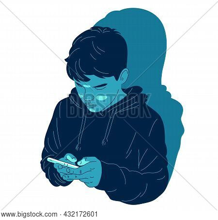 Young Teenager Boy Uses His Phone Vector Illustration Isolated On White, Phone Or Internet Addiction