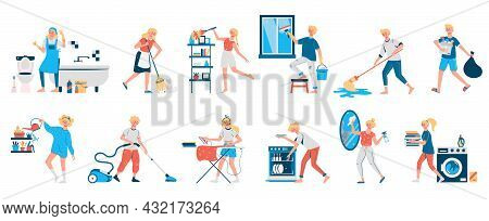 Set Of Isolated Images Of Cleaning The Apartment In Which The Girl Washes The Bathroom And Sweeps Ve