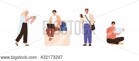 Set Of People Using Different Gadgets. Man And Woman Are Online With Smartphone, Laptop, Tablet Pc,