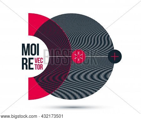 Graphic Design Element Vector, Circle Moire Trendy Layout, Poster And Cover Abstract Modern Art, Opt
