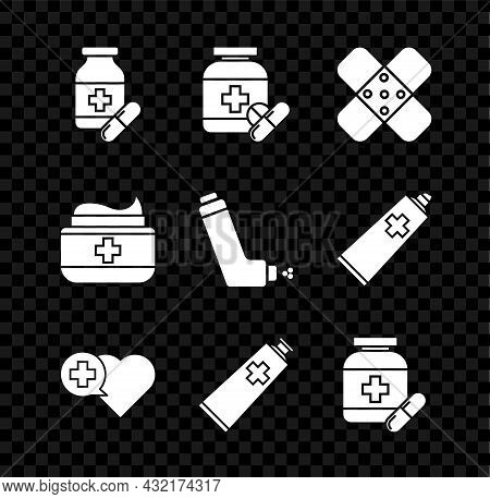 Set Medicine Bottle And Pills, Crossed Bandage Plaster, Heart With Cross, Ointment Cream Tube Medici