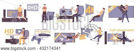 Video Format Set Of Isolated Icons With Flat Human Characters Images Of Computer Screens Tv Sets Vec