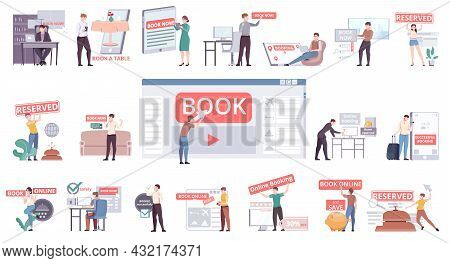 Book Now Online Flat Icons Set Of People Reserved Tickets Restaurant Table Hotel Isolated Vector Ill