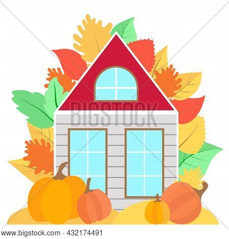 Autumn House With Colorful Leaves And Pumpkins Vector. Rural Cottage In The Autumn Season. Postcard