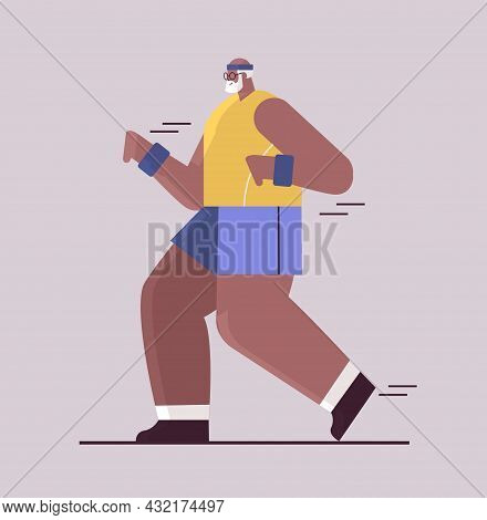 Senior African American Man In Sportswear Running Grandfather Pensioner Doing Physical Exercises Act