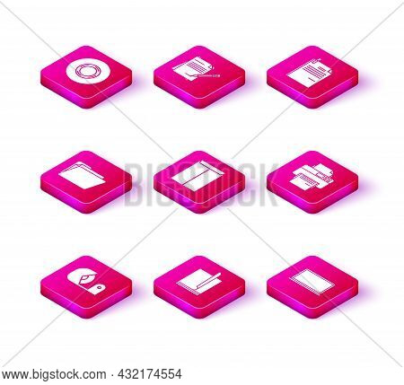 Set Scotch, File Document, Document Folder, Envelope, Laptop, Printer, And Paper Clip And Blank Note