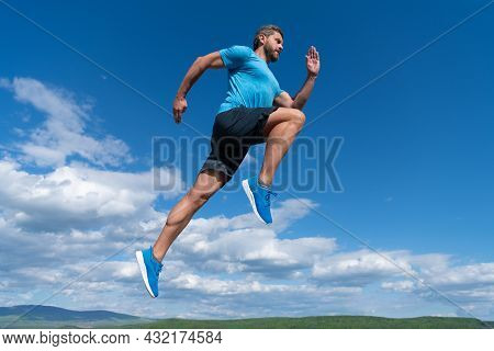 Sprinter. Challenge And Competition. Sport Athlete Run Fast To Win. Workout Activity.