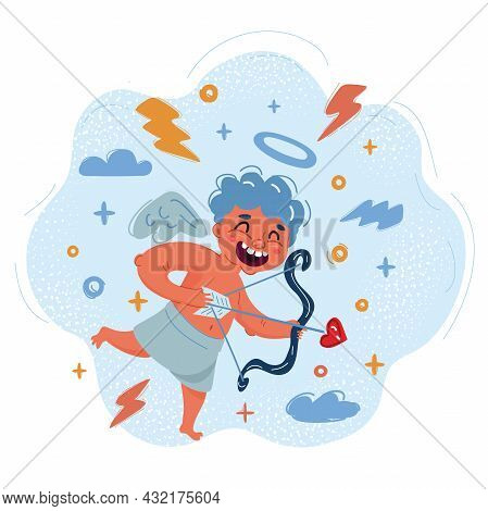 Vector Illustration Of Comic Cupid With Bow And Arrow In His Hands.