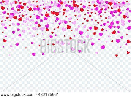 Red Confetti Background Transparent Vector. Folded Backdrop Heart. Fond Art Illustration. Violet Hea
