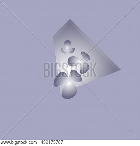In The Center Of The Lilac Background There Are Figures Resembling Flowers Flying Out Of The Illumin