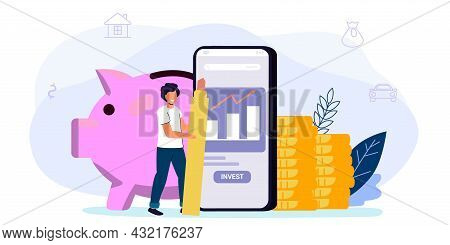 Online Investment With Mobile Phone Concept Financial Technology And Business Investment Illustratio