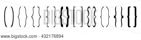 Curly Brace Set Vector. Text Brackets Collection For Messages, Quotas.