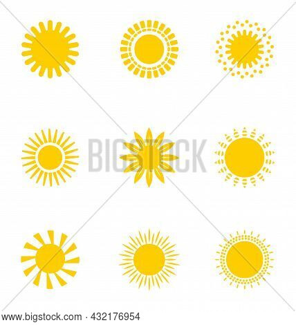Bright Sun Icons Set Vector. Sunset Logo In Various Design On White Isolated Background..