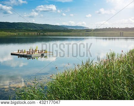 Milada Lake And Nesting Aid For Wild Birds, Revitalization Of The Once Industrial Zone.