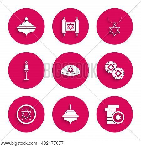 Set Jewish Kippah With Star Of David, Hanukkah Dreidel, Coin, Burning Candle Candlestick, Star David