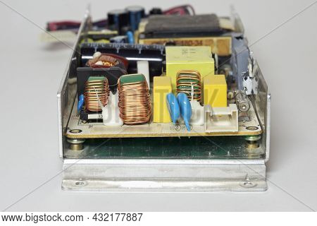 Switch-mode Power Supply Of Lcd Tv. Electronic Components Closeup