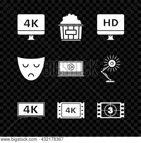 Set Computer Pc Monitor With 4k Video Technology, Popcorn In Cardboard Box, Hd, , Movie, Tape, Frame