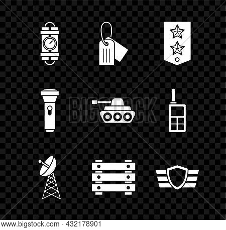 Set Detonate Dynamite Bomb Stick And Timer Clock, Military Dog Tag, Chevron, Radar, Ammunition Box,