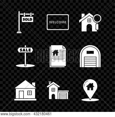 Set Hanging Sign With Text Sold, Doormat The Welcome, Search House, House, Map Pointer, Sale And Con