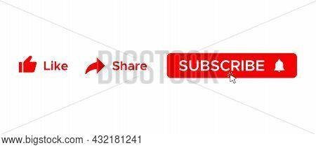 Like, Share, and Subscribe Button Icon Vector